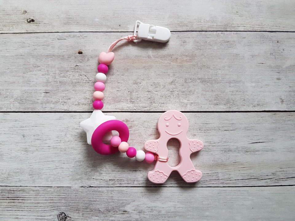 Egyágú színes szilikon rágóka (_candypink_mezi_pink_vilagos_rozsaszin_es_feher)